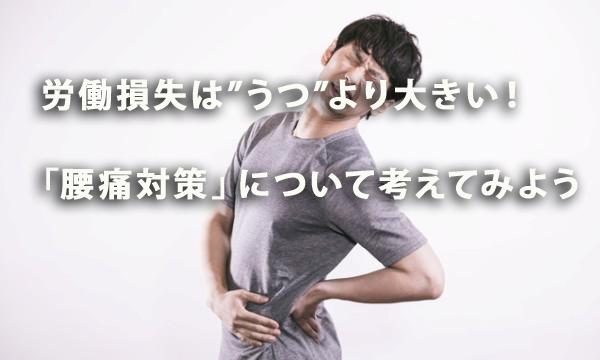 """労働損失は""""うつ""""より大きい!「腰痛対策」について考えてみよう"""